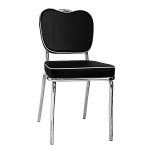 Sedia ristorante, molto comoda ed elegante. Struttura in acciaio cromato, seduta e schienale in eco pelle bianca rossa o nera.