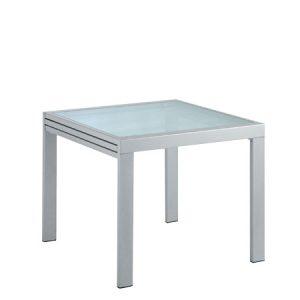 Tavolo allungabile in vetro e metallo, il suo stile essenziale lo rende adattabile a qualsiasi contesto sia come tavolo da cucina che come tavolo riunioni.