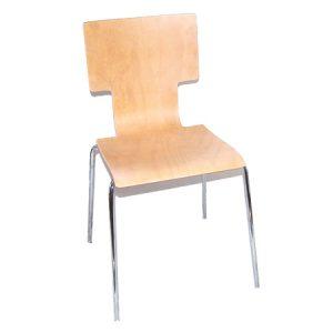 Sedia moderna da cucina o ristorante con struttura in metallo e seduta in legno.